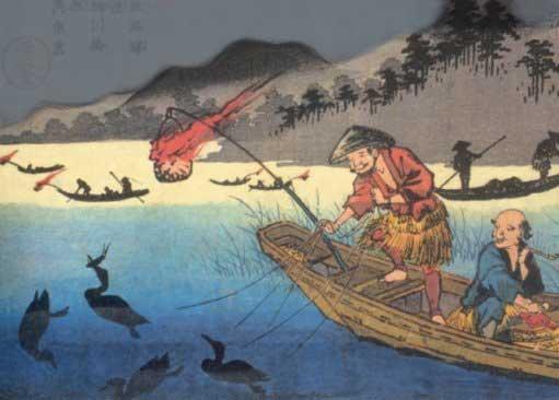 Древняя картина, изображающая лов рыбы с бакланами