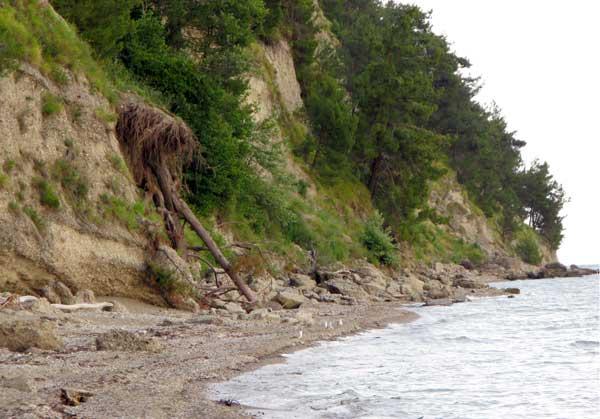 Морское побережье дикое и пустынное.