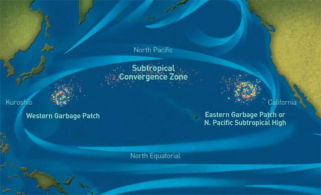 Мусорные пятна в Тихом океане. Карта
