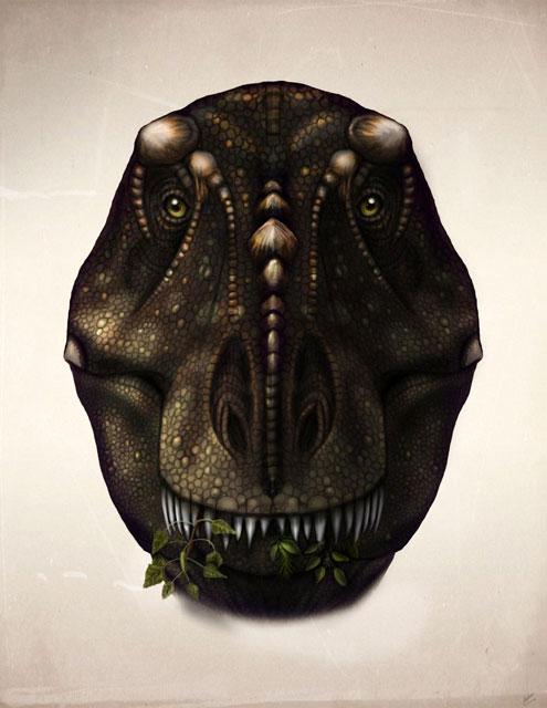Тираннозавр, который пасется. Художник Виталий Мельник